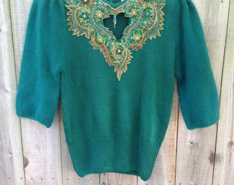 Vintage Green Beaded Keyhole Sweater