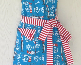 Cat in the Hat Apron, Dr Seuss, Full Apron for Women, Handmade, KitschNStyle