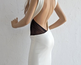 Open back with see-through details midi dress - #95020