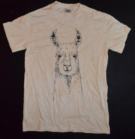 Hand drawn llama t shirt made to order by alpacamajesty on for Made to order shirts online