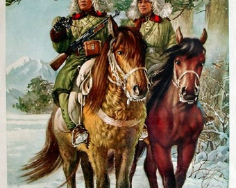 Chinese propaganda poster Strong Cavalry in the Snow Storm possibly from the 1950s