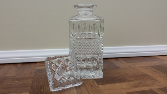 Vintage Square 24 Lead Crystal Diamond Point Whiskey Decanter