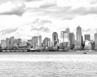 "Seattle Photography Print - Seattle Skyline - 5""x30"" - Wall Art - Decor"