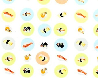 Heather Ross - Munki Munki Fabric - Sushi on Poplin - Not From Pajamas - OOP Out Of Print