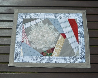 Handmade Quilted Christmas Patchwork Tablecloth - Wintertime Quilted Tablerunner - Quilted Tablecloth - Snowflake Tablecloth
