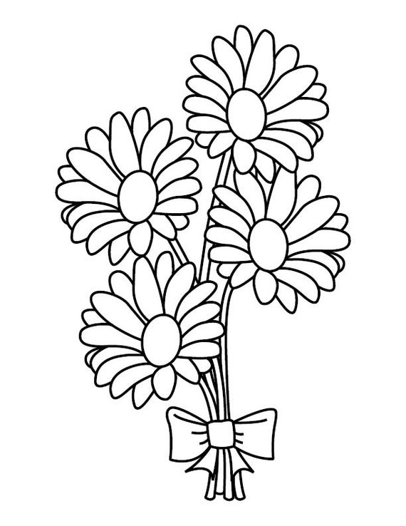 Daisy Bouquet Coloring Page by BrittsDesignAndBeads on Etsy Wedding Bouquet Coloring Pages