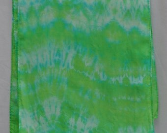 Silk Scarf - Hand Dyed: (Bright Green and Turquoise)