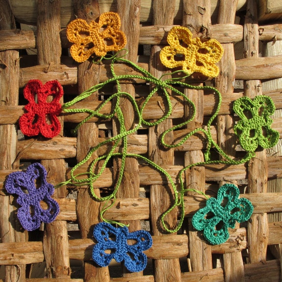 Crochet butterfly rainbow garland in 100% cotton