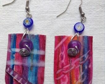 Rose Madras - Hand Painted earrings