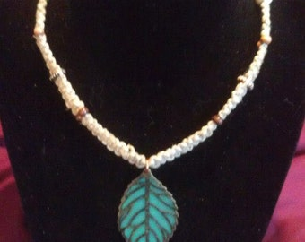 Green Leaf Hemp Necklace with Wooden and Bone Beads