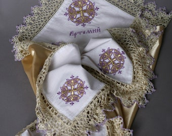 Personalized Baptism blanket Dedication Gift for godchild christening blanket with lace Lilac Baby Blanket Baptism Gift for goddaughter