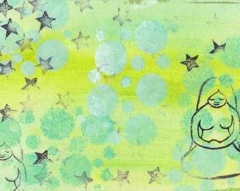 Printable Art Journal Background, Horizontal, Instant Download, Green, Zen, Meditating Woman
