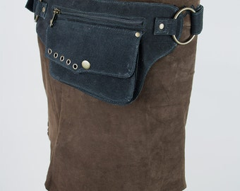 One pocket suede leather hip bag (festival, travel) - Pelesit (0016)