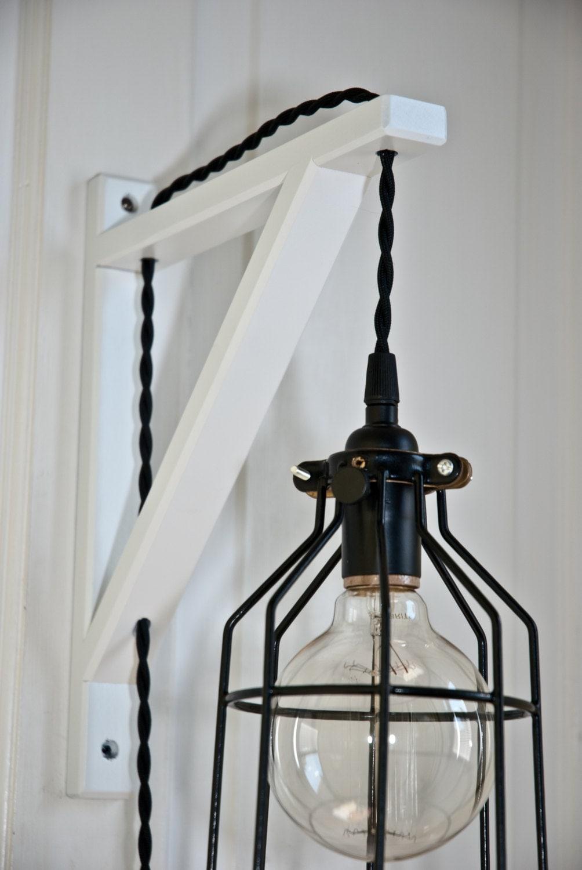 white wood bracket metal bulb cage guard by vintagelightszone. Black Bedroom Furniture Sets. Home Design Ideas