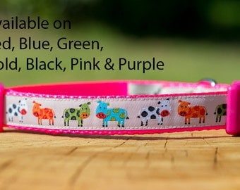 "Dog Collar ""Cute Cows"" Australian Made"