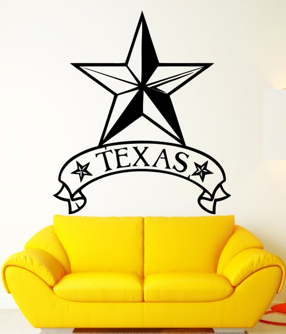 Vintage Star Wall Decor : Vinyl decal wall sticker texas lone star usa by