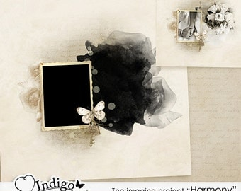 Photoshop Collage Template for Photographers - Wall Art Template Harmony Vol3 - Digital Scrapbook Template with Mask, D011 -INSTANT DOWNLOAD