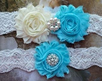 Something Blue Wedding Garter Set, Bridal Garter Set, Vintage Wedding, Lace Garter,  Garter Set, Flower Wedding Garter Set