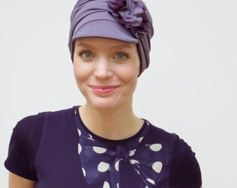 Mauve fitted chemotherapy hat | sporty chemo cap | cancer hats | hats for women's hair loss | soft chemo headwear - all sizes available