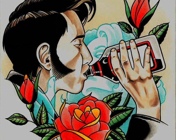 Kiss the Bottle Tattoo Art Print