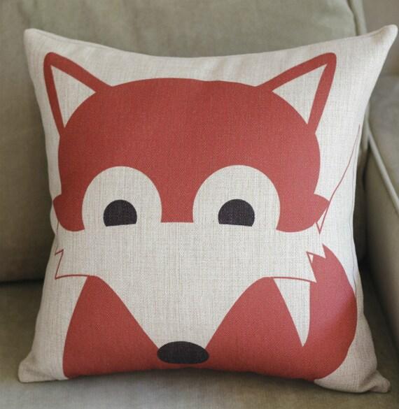 Linen Pillow animal Pillow cover Cushion cover Fox pillow cover Home Decor Throw pillow ...