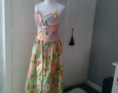 Items similar to ON SALE! Rehabbed vintage floral skirt ...