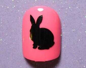 Bunny rabbit vinyl nail decal stickers- nail art- nail stickers (choose 25 or 50 nail decals)