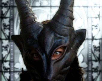 Masque de démon costume de corne en cuir diable cospaly GN renaissance wicca païen magique
