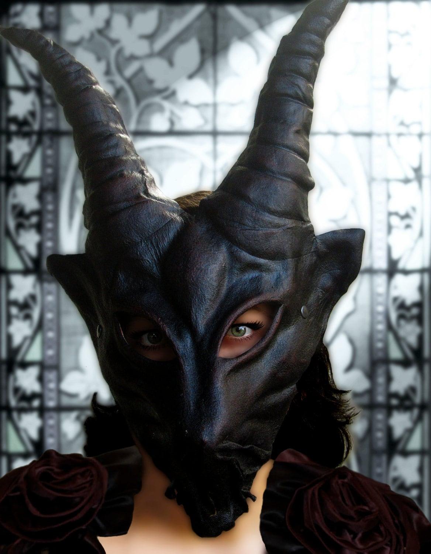 Demon Mask Devil Leather Horn Costume Cospaly Larp Renaissance
