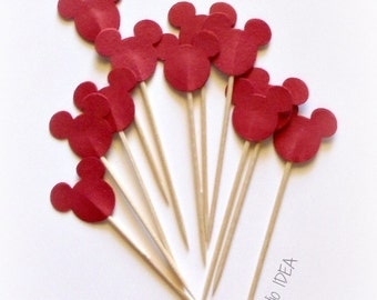 24 Red Mickey Head double-sided Cupcake Toppers, Food Picks or CHOOSE YOUR COLORS - Set of 24 pcs