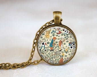 Alice In Wonderland Art by Charles Voysey Necklace, Mad Hatter Necklace, Queen of Hearts Necklace, Wonderland Pendant Wonderland Jewelry