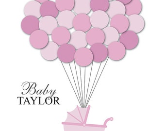 Baby Shower Guest Book Alternative Guest Sign In Ideas Stroller Balloons Poster Print Guest Sign Personalized Unique DIGITAL FILE ONLY!