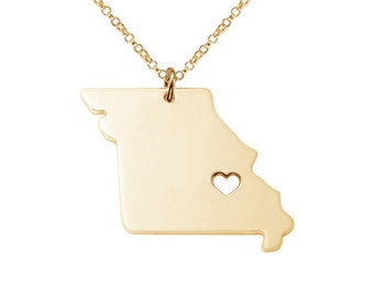 Gold Missouri State Necklace,MO State Necklace,MO State Charm Necklace, State Shaped Necklace Custom Necklace With A Heart-%100 Handmade