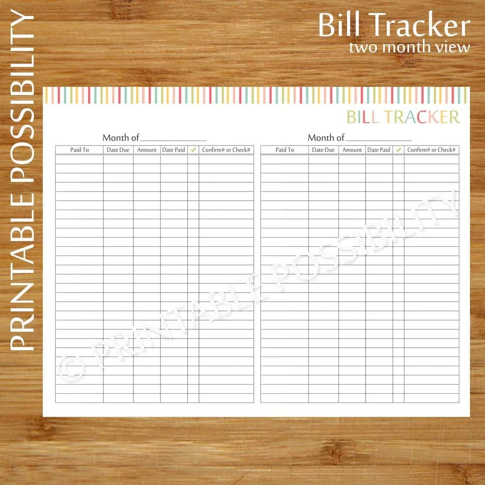bill tracking form printable bill tracker two month view