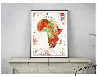 Africa  Map, Map Art, Vintage Map, Watercolor Map, Map Prints, World Map Poster, Africa Watercolor Map