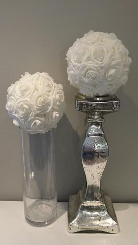 Foam Rose Centerpiece : Premium real touch foam rose white flower ball by kimeekouture