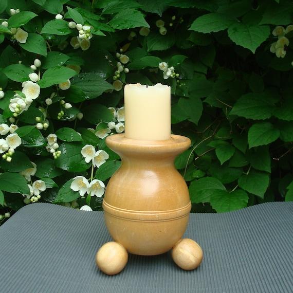 Vintage natural madera candelabro para 1 vela por olalavintage