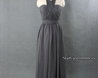 Long Grey Convertible Bridesmaid Dress Long Chiffon Dress Grey Prom Dress