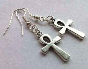 Egyptian Silver Ankh Earrings Silver Cross Earrings Egyptian Earrings Ankh Earrings Crux Earrings Cross Earrings 'Key of Life' Earrings