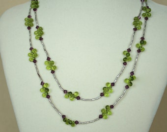 Green Czech Glass, Swarovski Crystal and Bali Silver double strand Necklace
