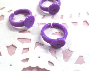Purple Plastic Kid's ring base with a 9mm glue pad,  size 3, A388