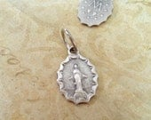 Miraculous Medal,  Super Mini, Finely Detailed Italian Bracelet Charm,  Religious, Rosary Parts, Catholic Jewelry Supplies