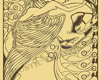 """Jan Troop """"Psyche"""" 1898 Reproduction Print Woman on Pegasus Art Nouveau"""