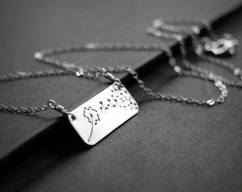 Horizontal Bar Dandelion Necklace, Hand Stamped Necklace, Dandelion Fluff Sterling Silver Rectangle, Blowing Dandelion Seeds, Nature Jewelry