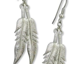 American Eagle Feathers Pewter Dangle Earrings #465