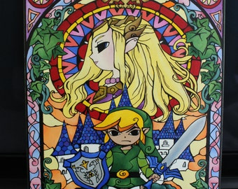 Legend of Zelda Stained Glass Window Painting