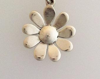 Solid Silver Handmade Daisy Pendant