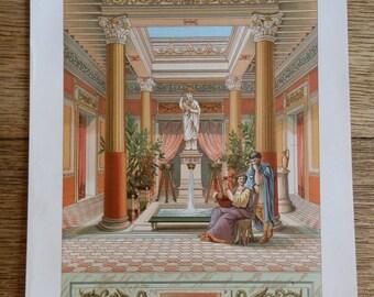 Vintage Colour Print of Atrium or Court of House in Pompeii c1920
