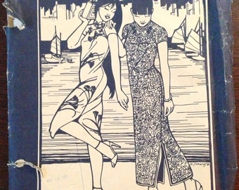 Folkwear 122 - Hong Kong Cheongsam in Midi or Full Length - Size Small Medium and Large