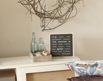 Word Clock - wood electronic clock, modern led wood clock, desk clook, handcrafted wood clock